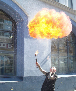 More fire breathing action outside Belfast's Black Box at the launch of the tenth Cathedral Quarter Arts Festival