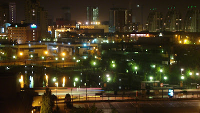 Night time view over Salford Quays