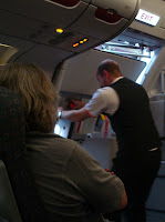 cabin crew closing the door on an easyJet flight