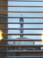 BT Tower viewed from St Giles hotel in central London