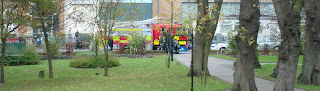 Fire engine attending the Farmers' Market in Lisburn's Castle Gardens