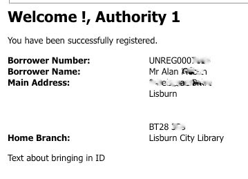 Screenshot from end of Libraries NI online registration process - with missing text and incorrect mapping of forenames to the welcome text