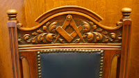 Masonic symbols on a chair