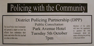extract from Wandsworth News community news sheet advertising local East Belfast DPP meeting