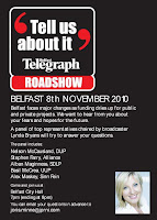 Poster for Belfast Telegraph - Tell us about it - roadshow in Belfast