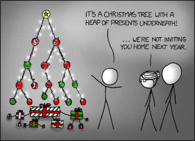 Tree, by xkcb.com - nerdy Christmas tree joke about trees and heaps (software programming terms)