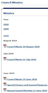 Snippet from Castlereagh Borough Council's website showing a lack of council minutes published online