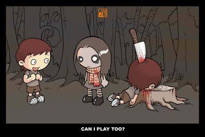 На пне лежит мальчик с ножом в голове. Рядом стоит девочка с мёртвыми глазами. Другой мальчик справшивает: 'Могу я тоже поиграть?'