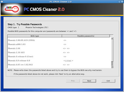 Reset BIOS Password with CMOS Cleaner