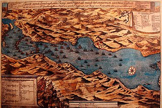 Mapa antiguo describiendo la Batalla de Rande