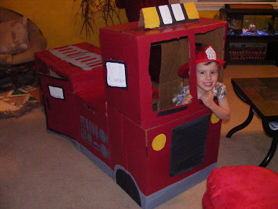 Cardboard Fire Engine Truck Tutorial by Everyday Mom Ideas