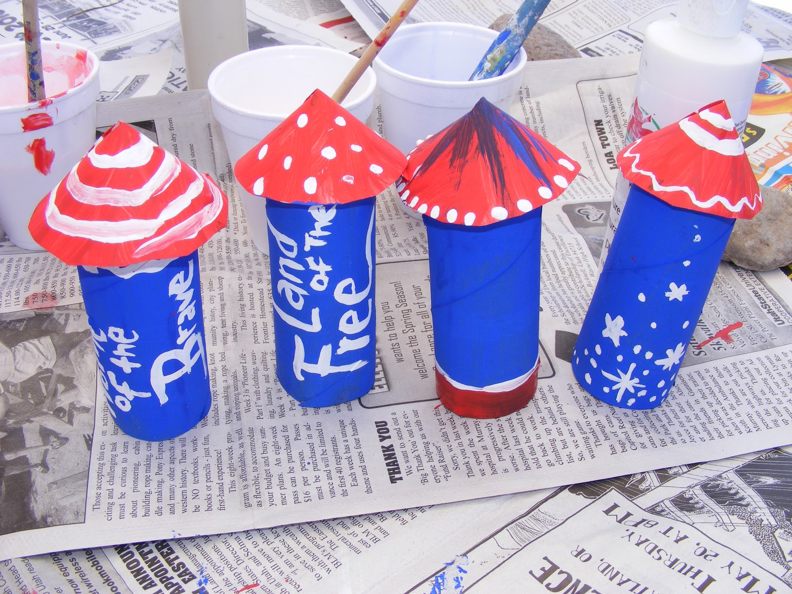 Th of july toilet paper roll rocket craft preschool