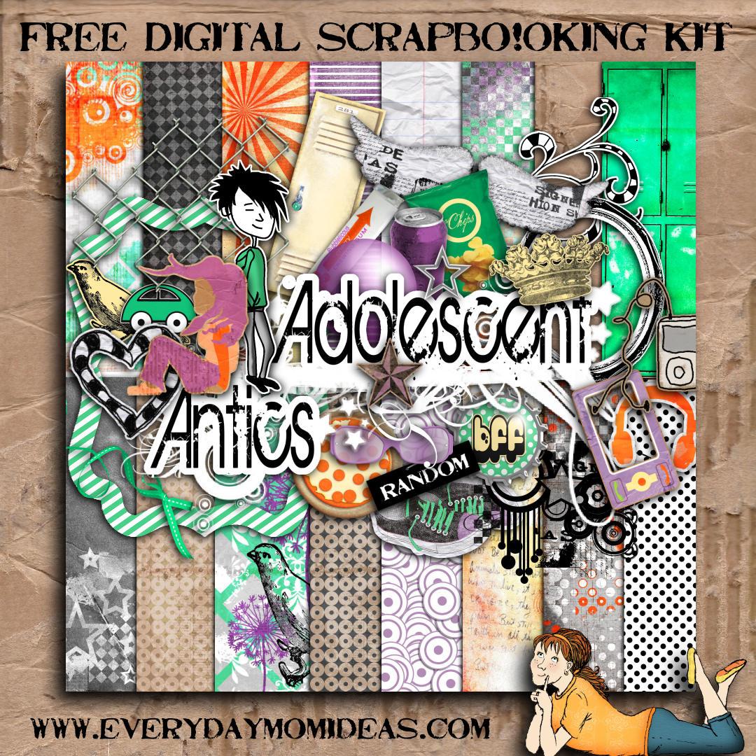 Adolescent Antics Free Digital Scrapbooking Mega Kit Everyday Mom