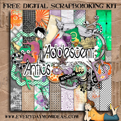 "Free scrapbook kit ""Adolescent Antics"" from everydaymomideas"