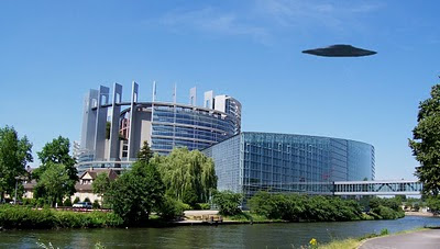 A UFO over the Parliament building in Strasbourg? NO, this was photoshopped by ME!