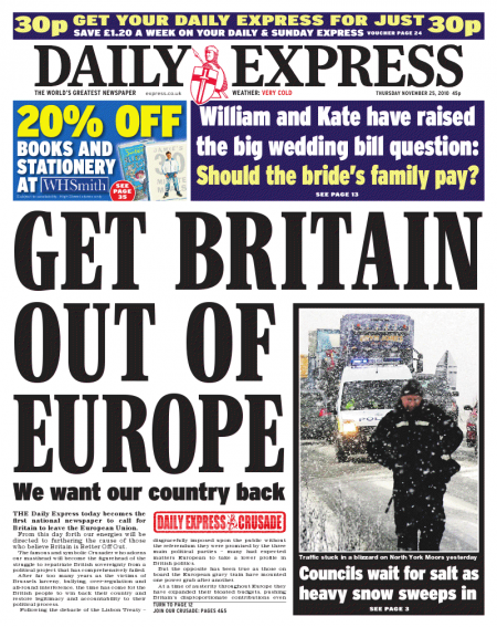 Daily Express front cover, Thursday 25 November 2010