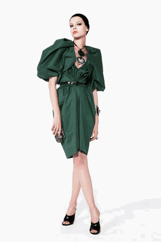 [ysl+green+dress]