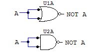 NOT gate with NAND and NOR diagram