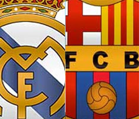 logos del real madrid y barcelona derby español