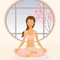 chica haciendo yoga caricaturizada