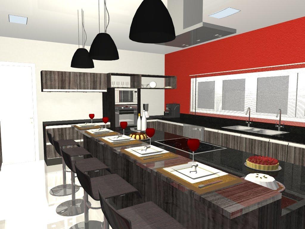 LECX .design de interiores.: Perspectivas em 3D Projeto: Cozinha  #AC2B1F 1024 768