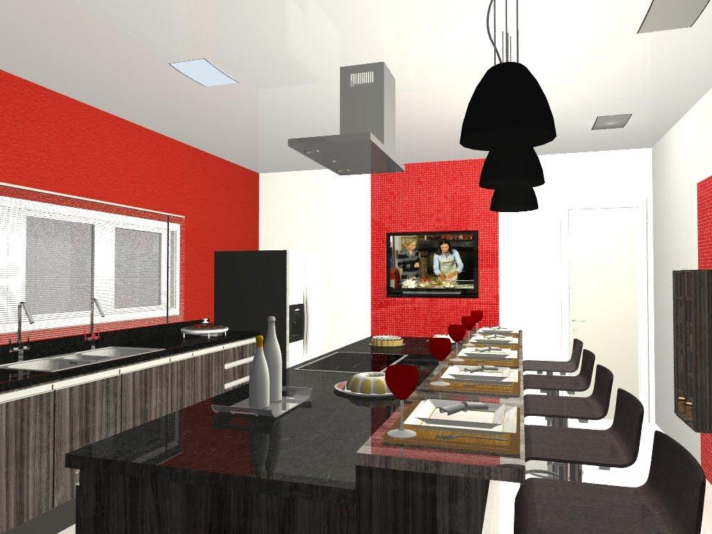 design de interiores.: Perspectivas em 3D Projeto: Cozinha Gourmet #A82B23 1024 768