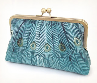 silk teal peacock clutch bag