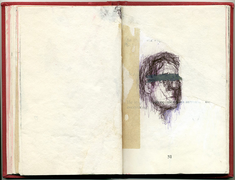 anyone, And Other Observations, 2007. pen, acrylic & collage on altered book.