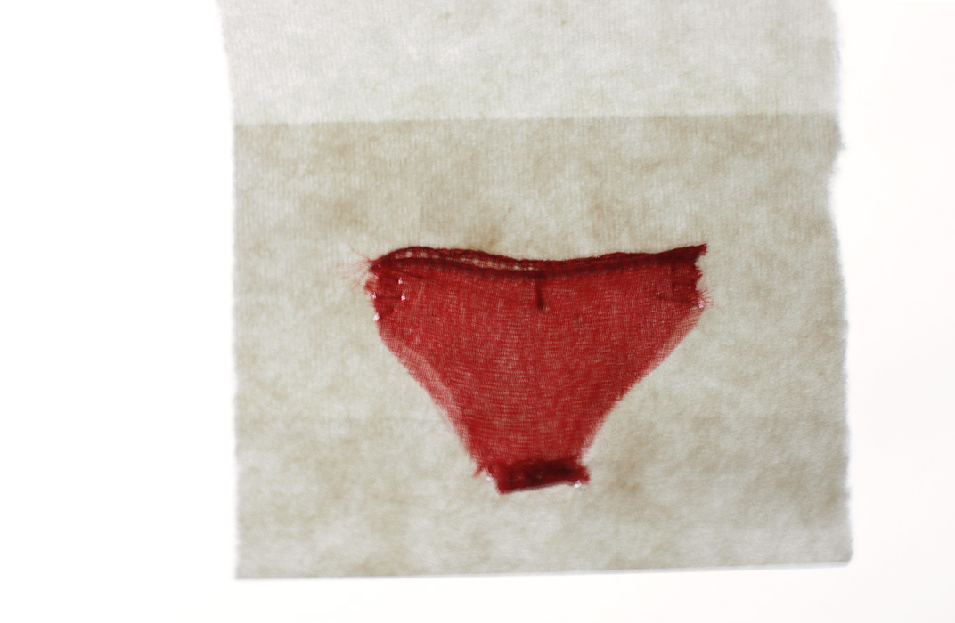 Red [2009], Little Undies series, ongoing. fabric & thread.