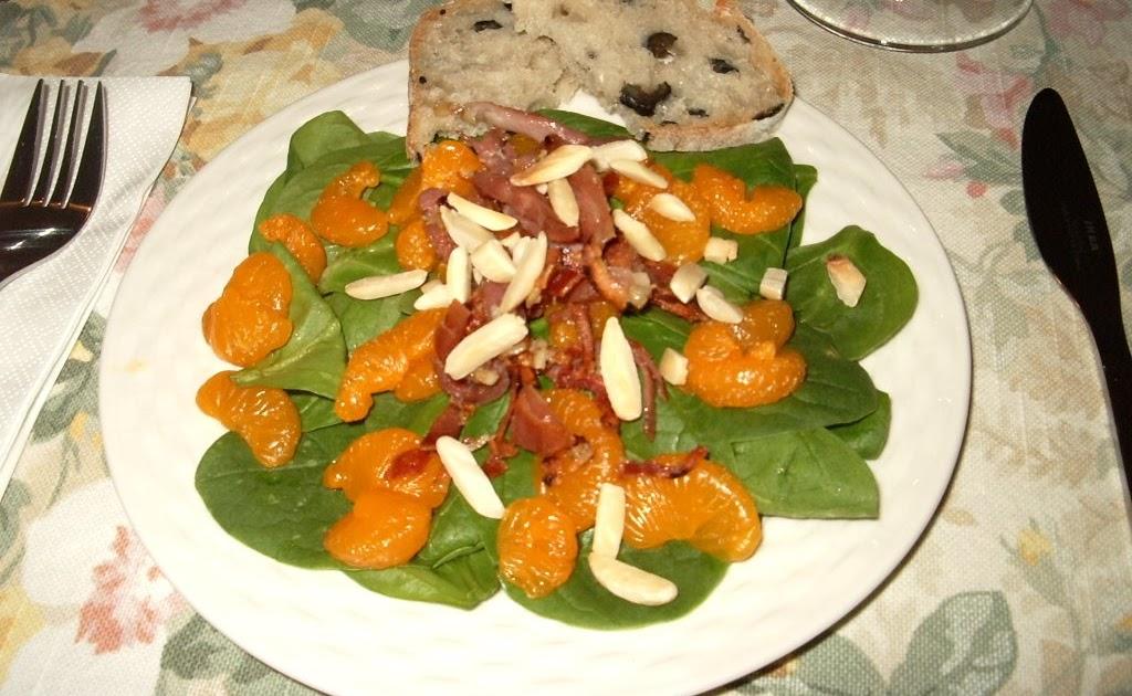 ma cuisine sans pr 233 tention salade chaude d 233 pinards et de prosciutto croustillant aux mandarines