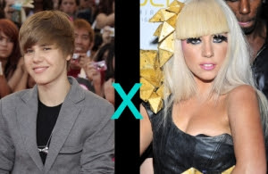 Justin Bieber, Lady Gaga, sucesso, fãs, famosidade, famosos, galera jovem