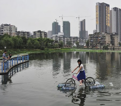 Unusual Modified Bicycle Rides on Water Seen On goodday