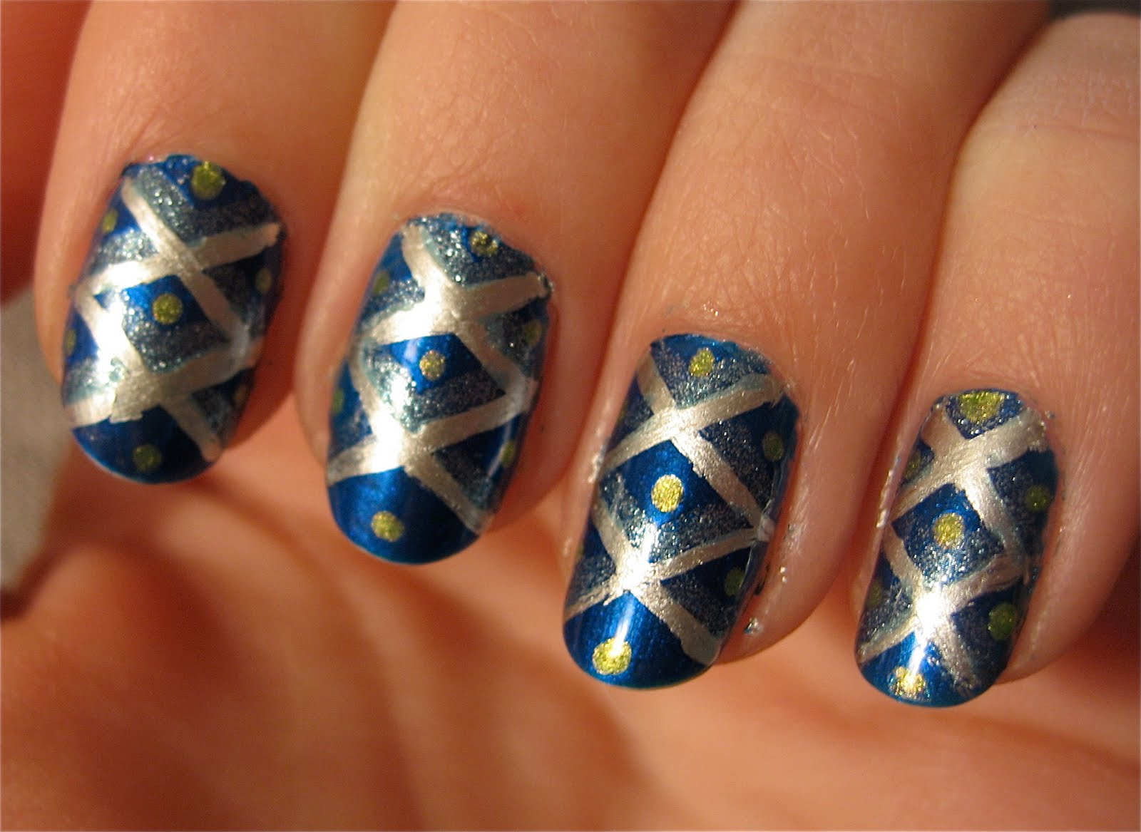 Dark Blue And Silver Nail Art Nailarts Ideas