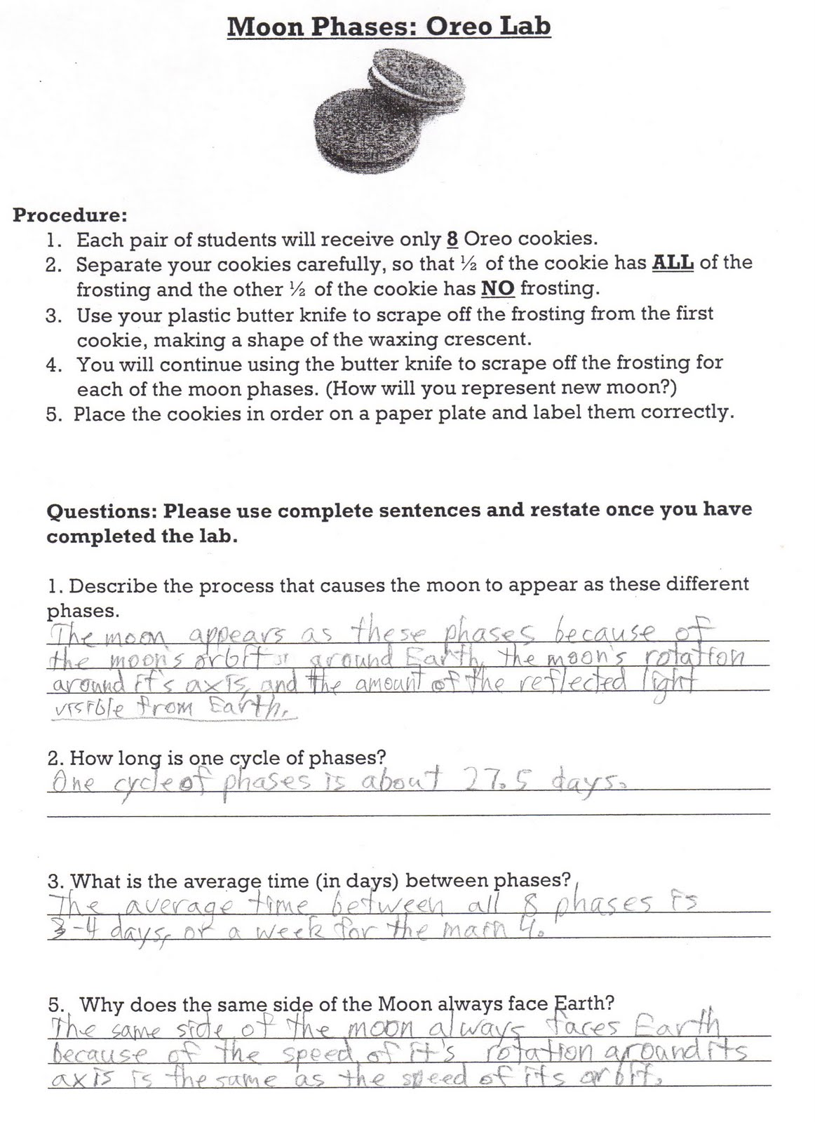 Moon Phases Worksheet Oreo Moon phase reflections