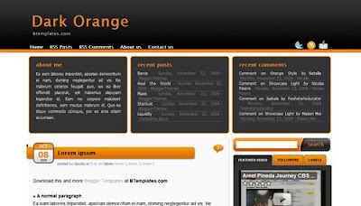 best blogger templates-Dark Orange