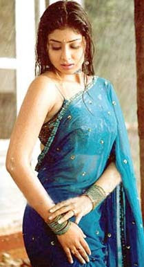 actress shriya in blue saree