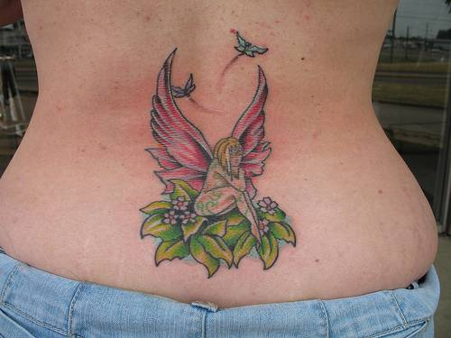 Lower Back Fairy Tattoos For Women
