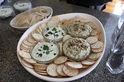 Left: Tzatziki. Right: Aubergine, Saffron and Yoghurt Dip