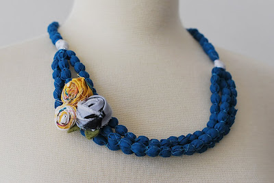 making necklace with bead and fabric