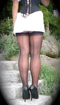 black seamed stockings and high heels