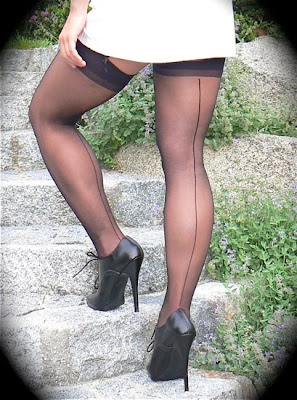 Black Oxford High Heels & Black seamed Stockings