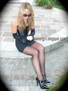 corset sunglasses and stockings