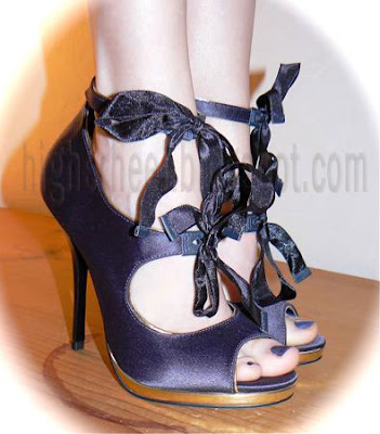 5 inch dark blue stilettos bare feet