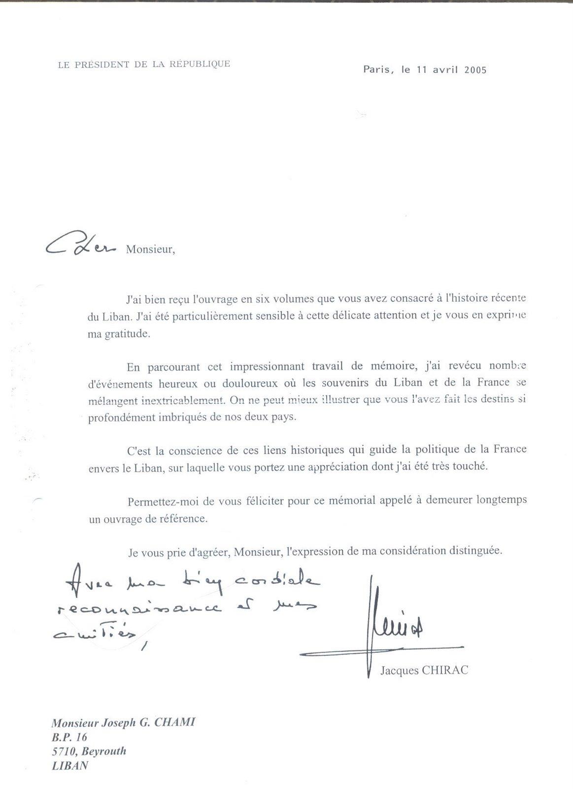 Lettre Chirac
