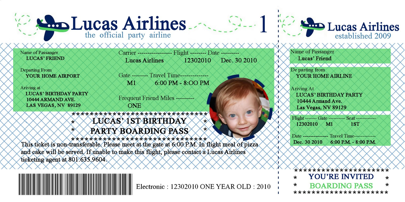 LIFE DONE DIGITAL Lucas Airline Birthday Invitation – Airline Ticket Birthday Invitations