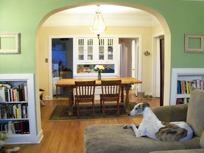 These after pics include the canine addition to the regal looking apartment