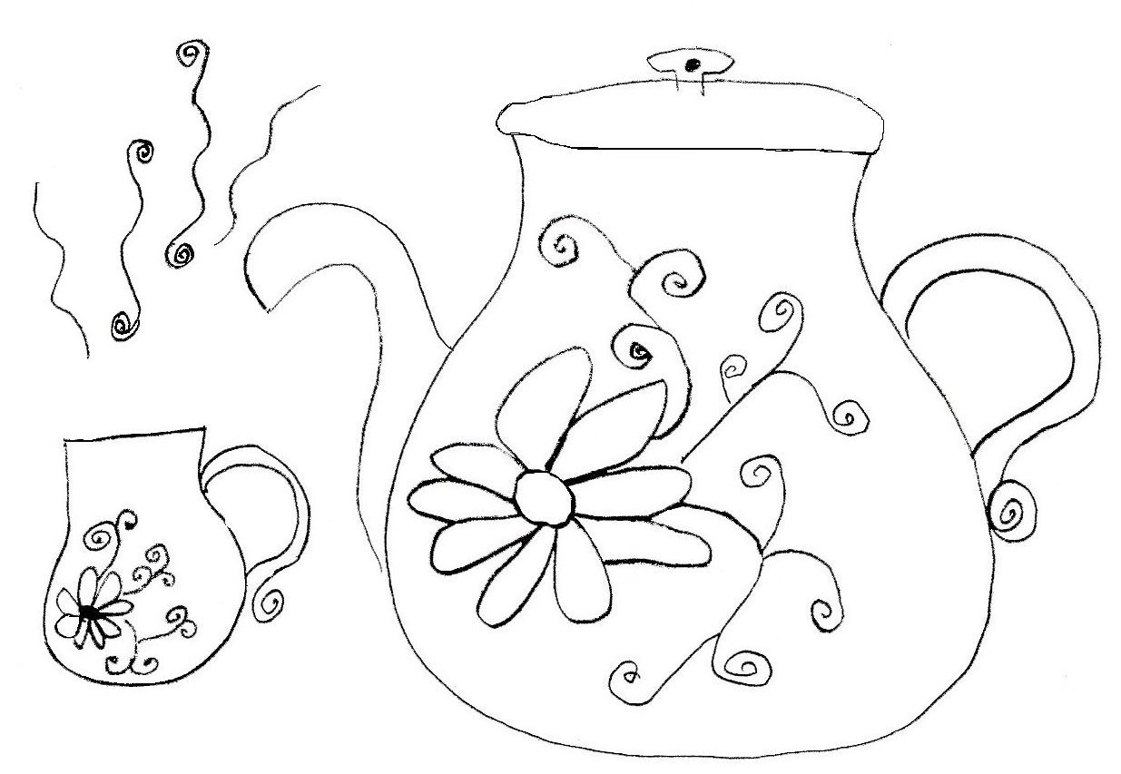 Free Coloring Pages Of Teapots Teapot Coloring Page