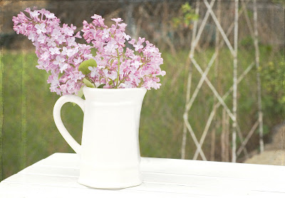 lilacs in white pitcher