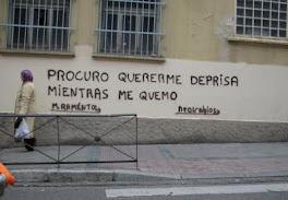Batania o Neorrabioso pinta mis versos en los muros de Madrid.