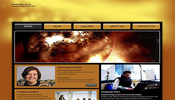 Dark Orange Jquery Free CSS Website Template